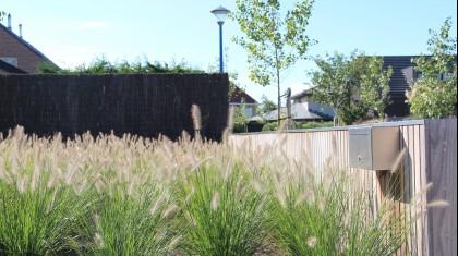 Strakke tuin met houtafwerking in combinatie met natuurlijke grassen
